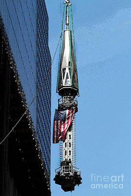 Wtc Spire Going Up Poster