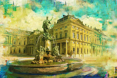 Wurzburg Residence With The Court Gardens And Residence Square Poster