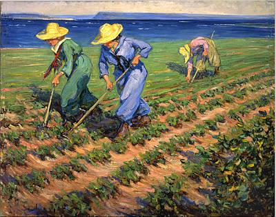 Ww1 Land Girls Farming Painting Print Poster by Georgia Fowler