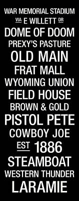 Wyoming College Town Wall Art Poster
