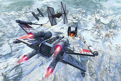 X-wing Attacking Tie Fighter Over An Poster