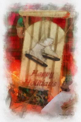 Xmas Sled Happy Holidays 01 Photo Art Poster by Thomas Woolworth