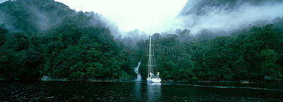 Yacht In The Ocean, Fiordland National Poster by Panoramic Images