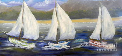 Yachts Sailing Off The Coast Poster by Pamela  Meredith