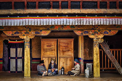 Yak Butter Tea Break At The Potala Palace Poster by Joan Carroll