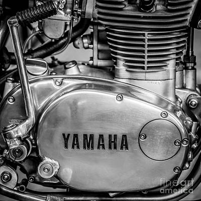 Yamaha Racing Bike Engine Kick Start - Square - Black And White Poster by Ian Monk