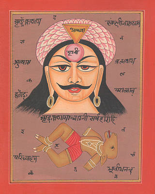 Yantra Mantra Miniature Painting India Earth Artwork Artist Tantric Tantrik Poster by A K Mundhra