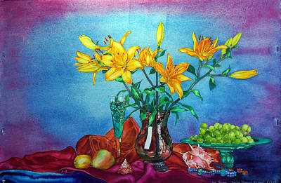 Yellow Lily In A Vase Poster