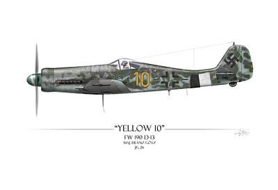 Yellow 10 Focke-wulf Fw190d - White Background Poster