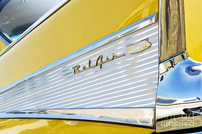 Yellow 1957 Chevrolet Bel Air Tail Fin Poster by Tim Gainey
