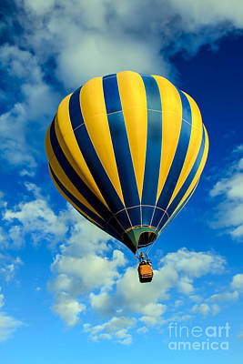 Yellow And Blue Striped Hot Air Balloon Poster by Robert Bales