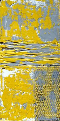 Yellow And Gray Abstract Painting Urban Chic Poster