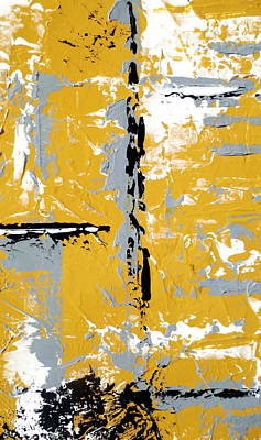 Yellow And Gray Abstract Triptych Departure Art Set Poster