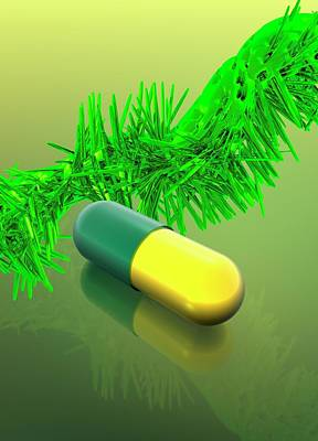 Yellow And Green Capsule Poster by Victor Habbick Visions