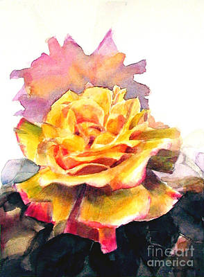 Poster featuring the painting Yellow Rose Fringed In Red by Greta Corens