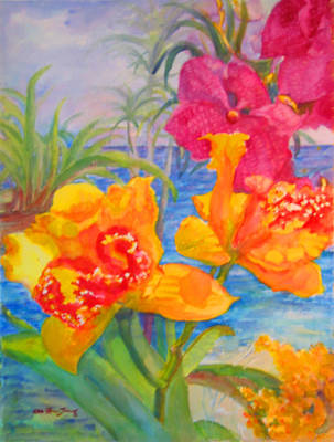 Yellow And Purple Orchids Poster by Estela Robles
