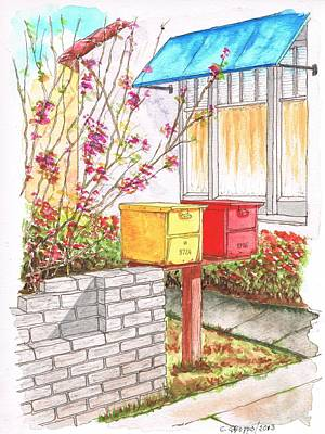Yellow And Red Mail Boxes In Rangely Ave - West Hollywood - California Poster by Carlos G Groppa
