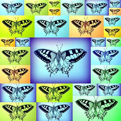 Yellow Blue And Green Butterflies Poster by Cathy Jacobs