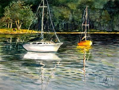 Yellow Boat Sister Bay Poster