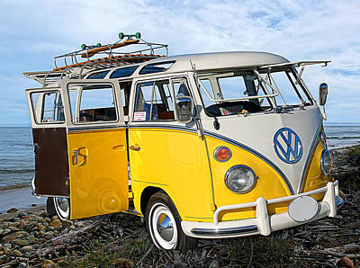 Yellow Bus At The Beach Poster