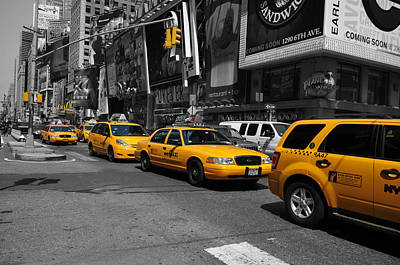 Poster featuring the photograph Yellow Cabs by Randi Grace Nilsberg