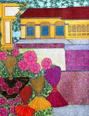 Yellow Casa Pink Flors Poster