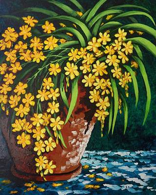 Poster featuring the painting Yellow Cascade by Katherine Young-Beck