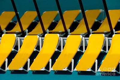 Yellow Chairs Reflected Poster by Amy Cicconi