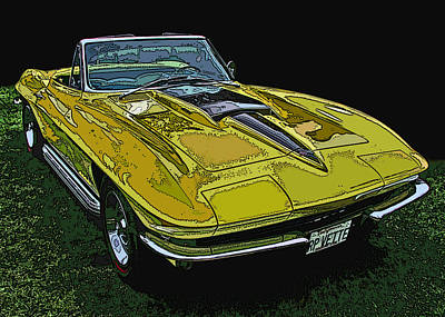 Yellow Chevy Corvette Stingray Poster