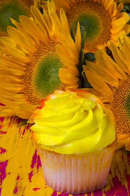 Yellow Cupcake And Sunflower Poster