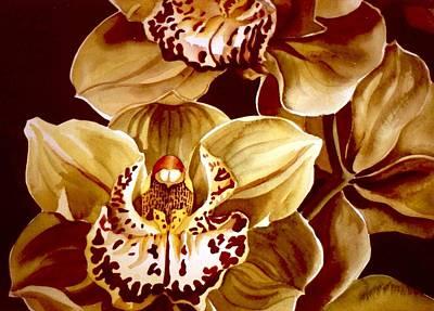 Yellow Cymbidium Orchid Poster