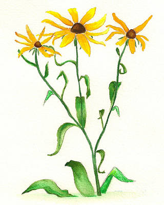 Poster featuring the painting Yellow Daisies by Nan Wright