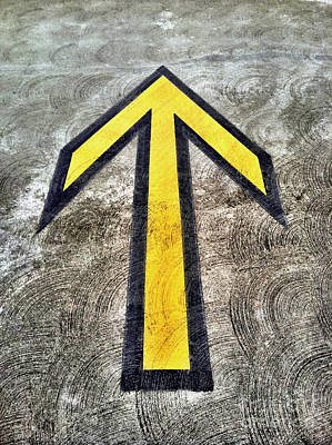 Yellow Directional Arrow On Pavement Poster