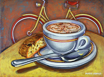 Poster featuring the painting Yellow Dutch Bicycle With Cappuccino And Biscotti by Mark Howard Jones