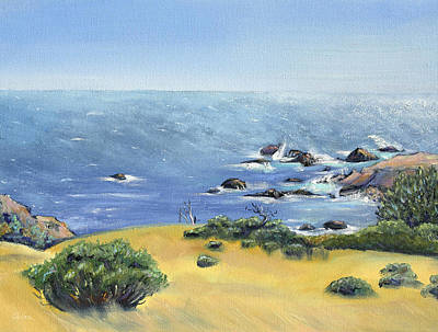 Poster featuring the painting Yellow Fields And Silvery Summer Sea by Asha Carolyn Young