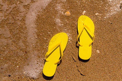 Yellow Flip Flops On The Beach Poster by Teri Virbickis