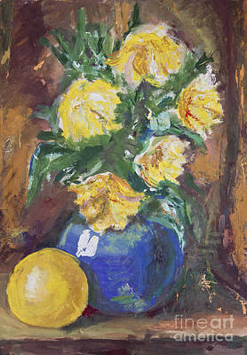 Yellow Flowers Bouquet Painting Poster by Kiril Stanchev
