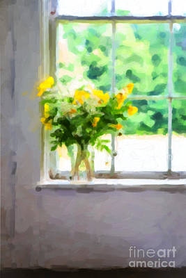 Yellow Flowers In The Window Poster by Diane Diederich