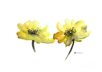Yellow Flowers Painting Watercolor Art Print Poster