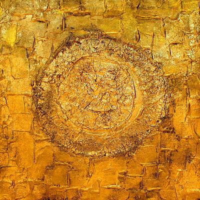 Yellow Gold Mixed Media Triptych Part 1 Poster