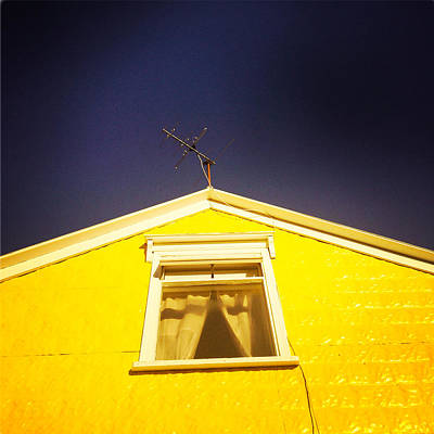 Yellow House In Akureyri Iceland Poster