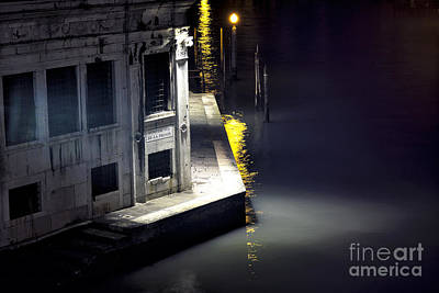 Yellow Light On The Grand Canal Poster by John Rizzuto
