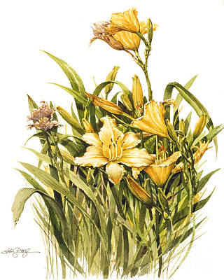Poster featuring the painting Yellow Lily by Bob  George