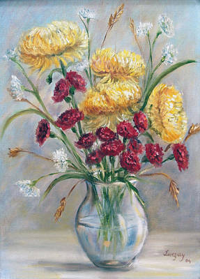 Poster featuring the painting Yellow Mums by Katalin Luczay