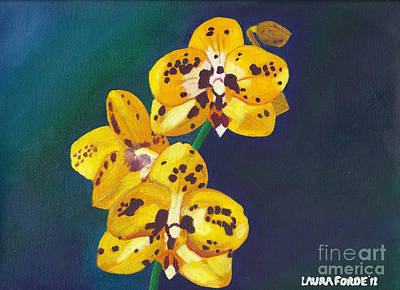 Poster featuring the painting Yellow Orchids by Laura Forde