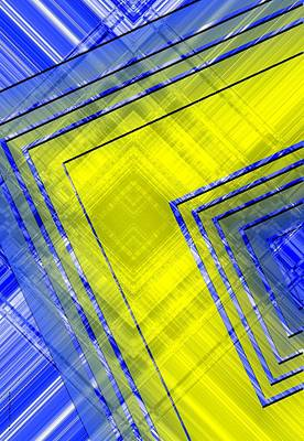 Yellow Over Blue Geometric Art Poster by Mario Perez