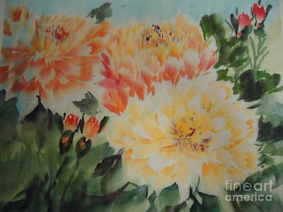 Yellow Peony Poster by Dongling Sun