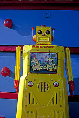 Yellow Robot In Front Of Drawers Poster by Garry Gay