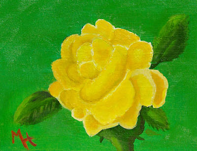Poster featuring the painting Yellow Rose Of Beta Sigma Phi by Margaret Harmon