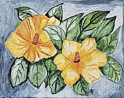 Yellow Rose Of Sharon Painting Poster by Marsha Heiken